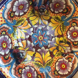 Mexican pottery and bird baths